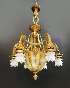 19th C. Figural Bronze & Crystal Chandelier 7-light