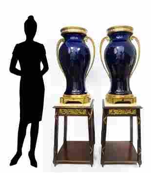 Monumental Pair of French Bronze Mounted Sevres Vases