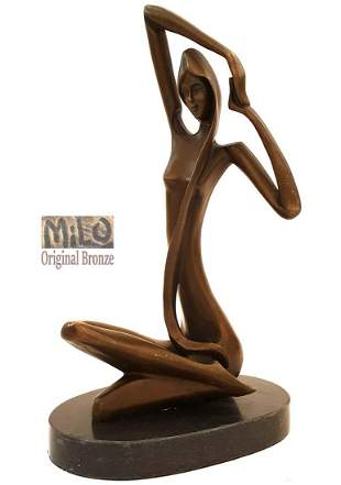 Seated Nude Lady, Abstract Original Milo Bronze Statue