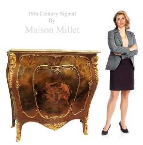 Maison Millet Figural Gilt Bronze Vernis Martin Cabinet