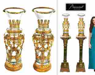 A Pair of 19th C. Large Baccarat Figural Bronze Vases