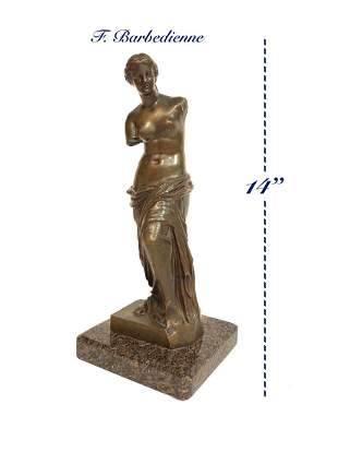 19th C Patinated Bronze Venus De Milo By F. Barbedienne