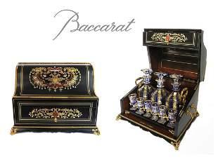 Bronze Marquetry Boulle Tantalus & Baccarat Liqueur Set