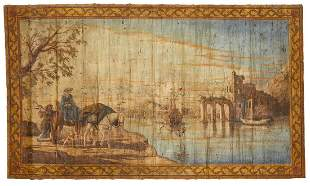 A Continental painted canvas panel, 19th C.
