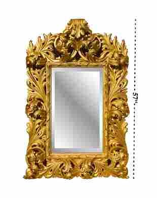 19th Century Imposing Florentine Carved Giltwood Mirror