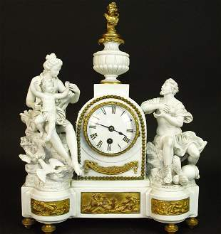 19th C. Gilt Bronze & Porcelain Bisque Figural Clock