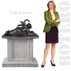A Large Leda & Swan, FERNANDO BOTERO Bronze Sculpture