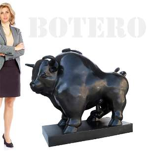 A Monumental BOTERO Fighting Bull Bronze Sculpture