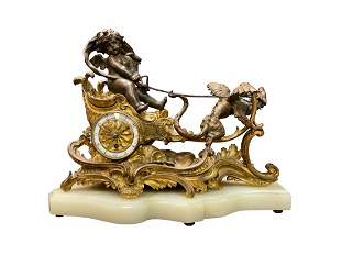 19th C. French Gilt & Patinated Bronze Figural Clock