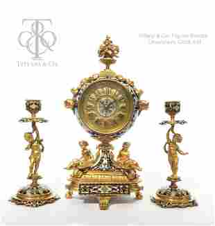 Tiffany & Co. Gilt Bronze & Champleve Enamel Clock Set
