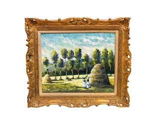 Modern Art Framed Enamel on Copper Painting
