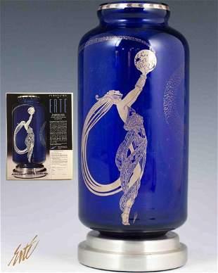Fireflies, Original ERTE Cobalt Crystal Platinum Vase