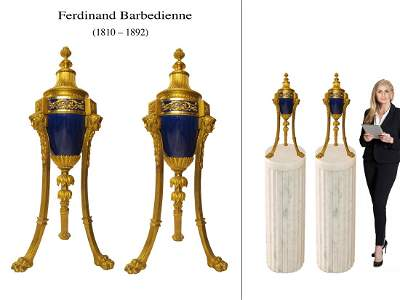 A PAIR OF BARBEDIENNE ORMOLU MOUNTED SEVRES URNS