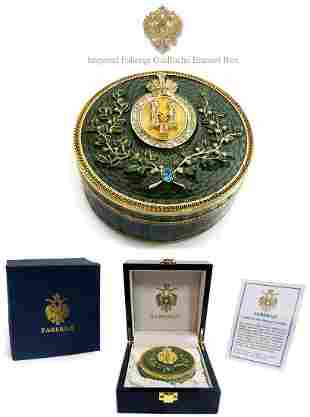 Imperial Faberge Green Guilloche Enamel Box