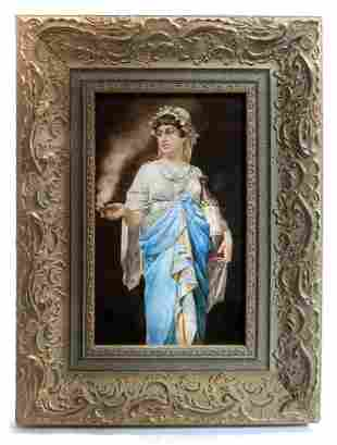 A Framed German Berlin KPM Porcelain Plaque