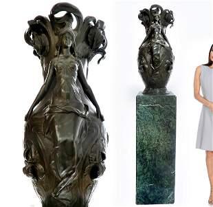 A Large Art Nouveau Patina-ted Cast Bronze Figural Vase