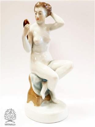 NUDE & MIRROR, A HEREND HAND-PAINTED PORCELAIN FIGURINE