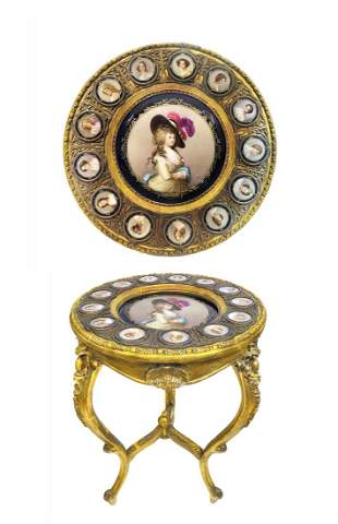 ORMOLU SEVRES GILTWOOD GUERIDON CIRCULAR TABLE, 19TH C.