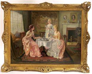 """Carl Hirschberg Large Oil on Canvas """"Afternoon Tea"""""""