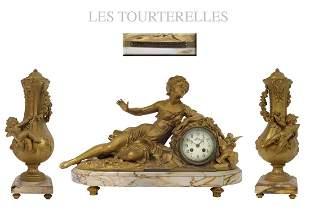 Les Tourterelles, F. Moreau Mantle Clock Set, 19th C.