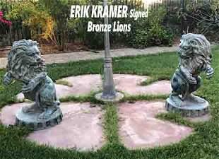 Very Large Pair of ERIK KRAMER Bronze Lions Sculpture