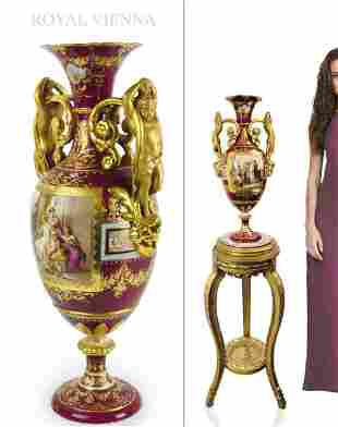 A Fine Hand Painted Royal Vienna Figural Vase, Signed