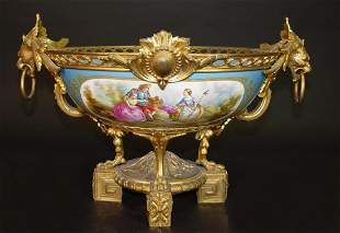 19th C. French Sevres Gilt Bronze Porcelain Centerpiece