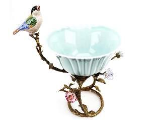 Bird on Twig Bronze & Porcelain Figural Planter
