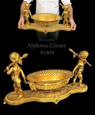 Large Alphonse Giroux Gilt Bronze Jardiniere, 19th C.