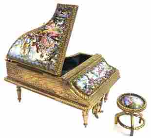 19th C. Viennese Enamel Piano & Bench