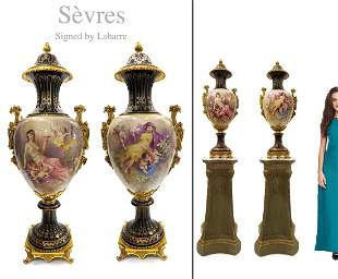 A PAIR OF 19TH C. BRONZE SEVRES LIDDED VASES, SIGNED