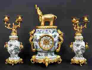 19th C. French Japonisme Bronze & Porcelain Clock Set