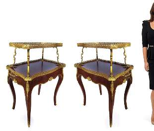 Pair of 19th C. French Bronze Mounted Tea Tables
