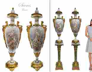A Very Rare Pair of Gilt Figural Bronze Sevres Vases