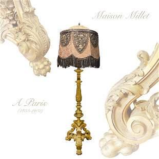 A Maison Millet (1853-1902) Ormolu Bronze Floor Lamp