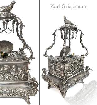 Karl Griesbaum Silver Mechanical Automaton Bird Box