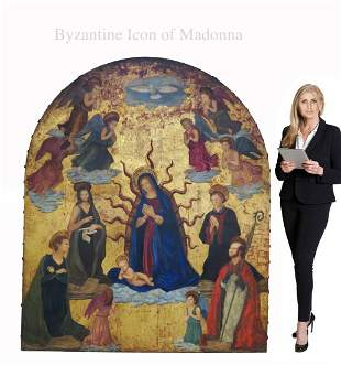 A Monumental Byzantine Icon of Madonna