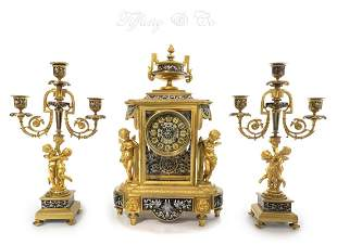 19th C Tiffany & Co Figural French Champleve Clock set