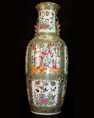 A Large 19th C. Chinese Rose Canton Hand Painted vase
