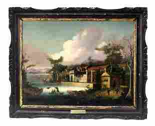 """19th C. Rare Chinese Oil on Canvas """"Pearl River"""""""