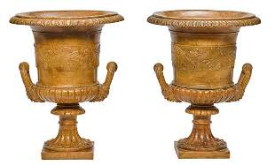 A PAIR OF CARVED ALABASTER CLASSICAL STYLE URNS