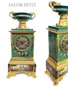 19TH C. FRENCH JACOB PETIT PORCELAIN MANTEL CLOCK