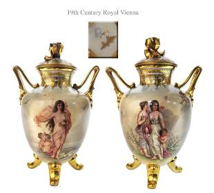 Superior 19th C. Pair of Royal Vienna Porcelain Vases