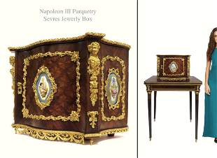 19th C Napoleon III Sevres Parquetry Bronze Jewelry Box
