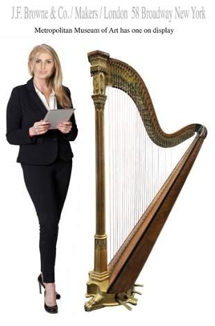 19th C. Museum Bronze Gilt Gesso Harp, J.F. Brown & Co.