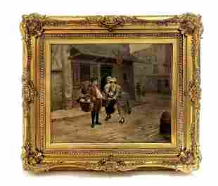 Large 19th C. Framed Oil in Canvas Signed