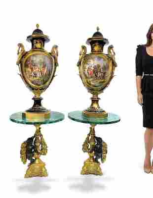 Near Identical Pair of Palatial French Sevres Vases