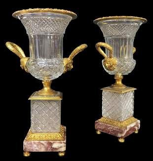 A Pair of Large Bronze Baccarat style Crystal Vases