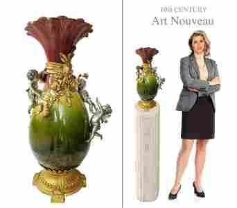19th C. Art Nouveau Bronze-Dore Mounted Figural Vase