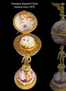 Large 19th C. Viennese Enamel Gilt Bronze Clock